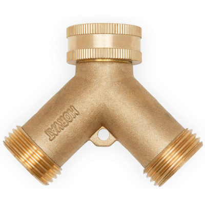 The Best 2 way Garden Hose Splitter by Morvat. Strong and durable brass hose y splitter.