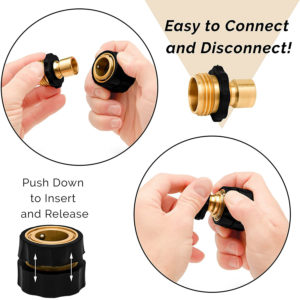 Brass Quick Connect Hose Connectors set of 2, 2 Male and 2 Female Connects