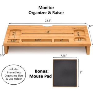 Bamboo Monitor Riser Computer Stand with Mouse Pad and Storage Organizer