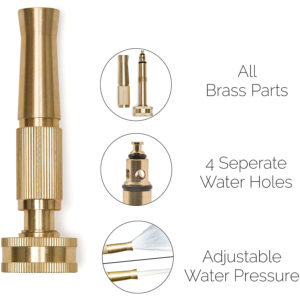 Solid Brass Heavy Duty Twist Nozzle for Garden Hose, Adjustable Power Sprayer