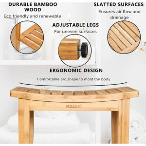 Bamboo Wood Shower Bench with Bamboo Mat