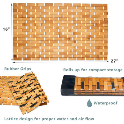 """The shower mat is 16""""x27"""" and features rubber grips and a compact design."""