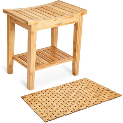 This is the bamboo shower seat bench with storage shelf and mat.