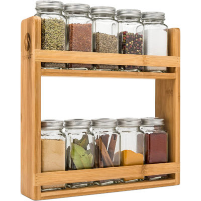 Morvat's wooden spice rack organizer is a 2 tier, countertop or wall mounted spice rack.