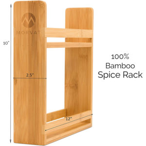 Wooden spice rack organizer, countertop or wall mounted spice rack, 2 tier spice shelves, bamboo wood