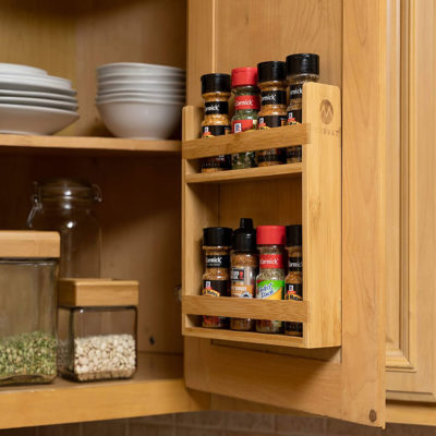 This spice rack organizer will mount neatly in your cabinet door.