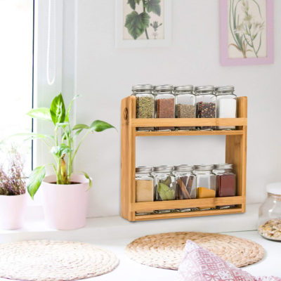 Morvat's spice shelf can be wall mounted.