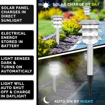 The solar garden stake lights automatically charge in daylight and turn on at night.