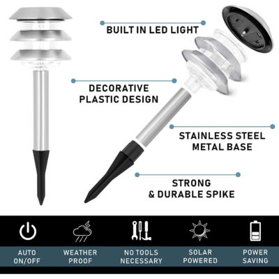 Morvat's solar path lights are outfitted with a stylish plastic design and a stainless steel spike.