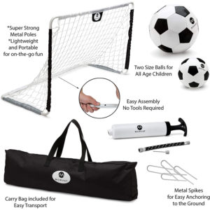 Outdoor Indoor Soccer Goal Set for Children, Includes 2 Soccer Goals and Soccer Balls, Black and White