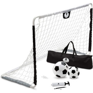 Outdoor Indoor Soccer Goal Set for Children, Includes Soccer Goal, Soccer Ball and Junior Soccer Ball, Black and White