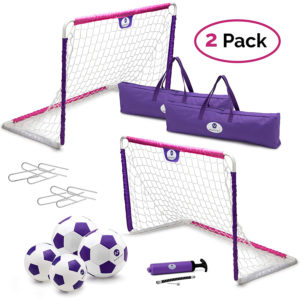 Toddler/kids soccer goal set for outdoor & indoor use – includes 2 nets & 4 soccer balls
