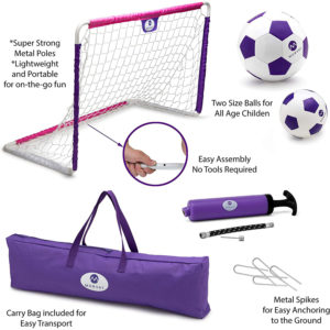 Outdoor Indoor Soccer Goal Set for Children, Includes Soccer Goal, Soccer Ball and Junior Soccer Ball, Pink and Purple