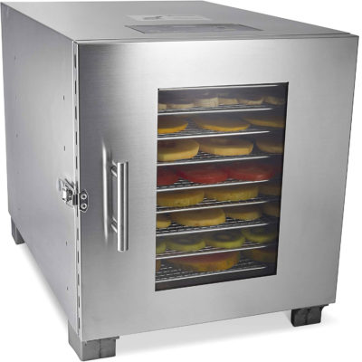 The dehydrator with metal trays has a lock on the outside as an extra safety precaution.