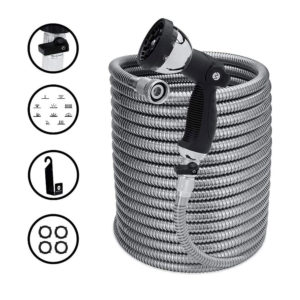 Stainless Steel Hose with Shut Off Valve, Includes Sprayer Attachment and Hose Hanger, 150 Foot