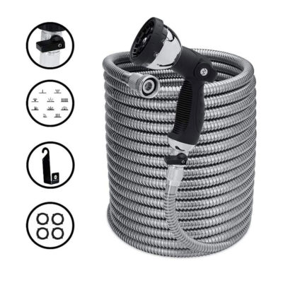 The 100/150 ft garden hose is strong and durable for a great gardening experience.