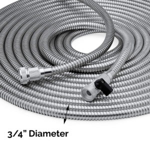 Metal garden hose with shut off valve made from durable stainless steel, tear-proof & kink-free – 50 feet