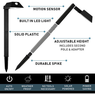 The adjustable path lights are durable, easy to install, and cost/ energy efficient.