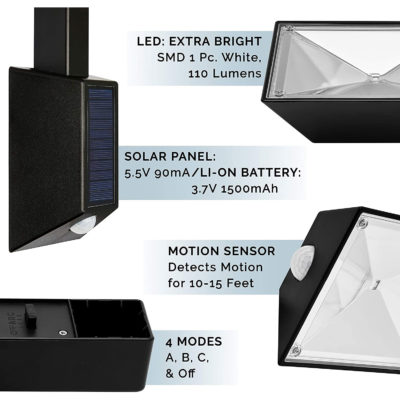 The top of the light includes bright LED lights, solar panel, motion sensors, and 4 modes.