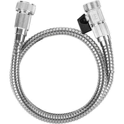 Here is a view of the stainless steel garden hose with the shut off valve.