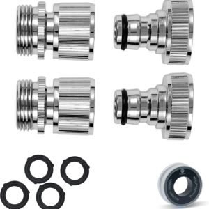 All Brass Nickel Plated Garden Hose Quick Connect, Quick Disconnect Water Hose Fittings, 2 or 6 Sets