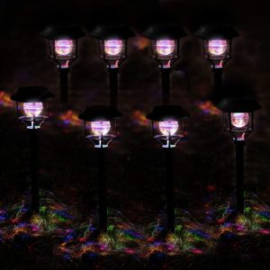 Color Changing Solar Lights For Outdoors – Plastic, 8-pack