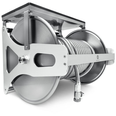 This handy wall mounted hose reel will keep your hose tangle-free and your yard tidy.