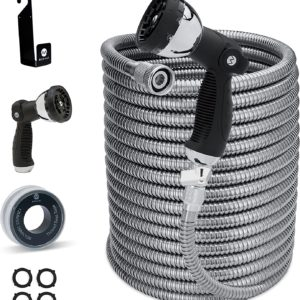Stainless Steel Expandable Garden Hose- Heavy Duty Metal Water Hose